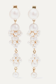 Sophie Bille Brahe + Cecilie Bahnsen Tulip Perle 14-karat gold pearl earrings