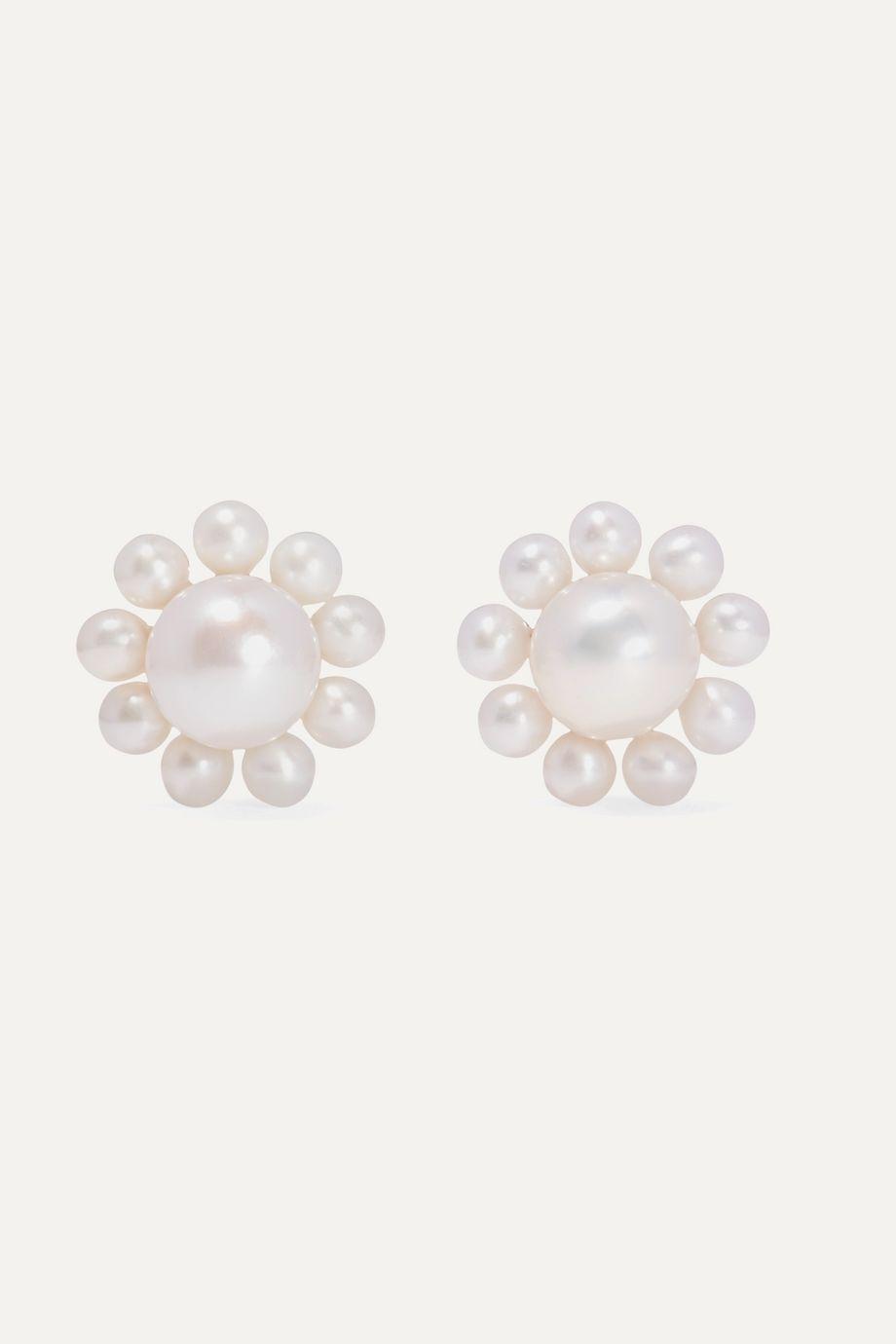 Sophie Bille Brahe + Cecilie Bahnsen Poppy 14-karat gold pearl earrings