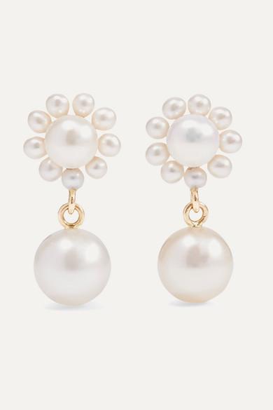 + Cecilie Bahnsen Poppy Perle 14 Karat Gold Pearl Earrings by Sophie Bille Brahe