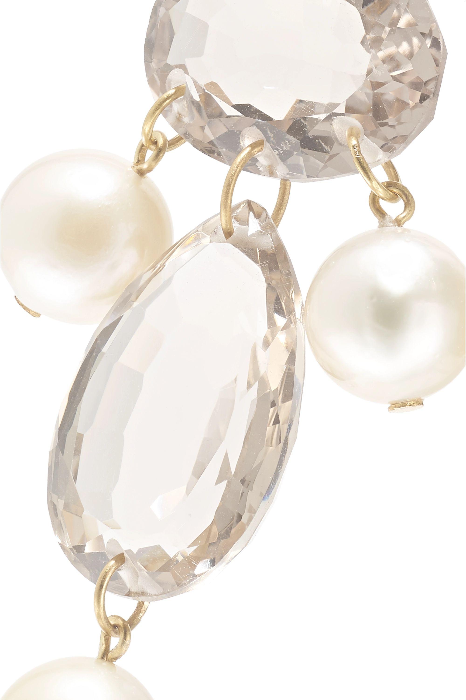 Marie-Hélène de Taillac Diane De Poitiers 20-karat gold, pearl and quartz earrings