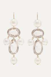 Marie-Hélène de Taillac Diane De Poitiers 20-karat gold, pearl and quartz earrings