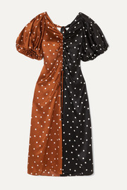 Talulah ruched polka-dot silk-satin midi dress