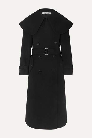 Belted double-breasted wool-blend twill coat
