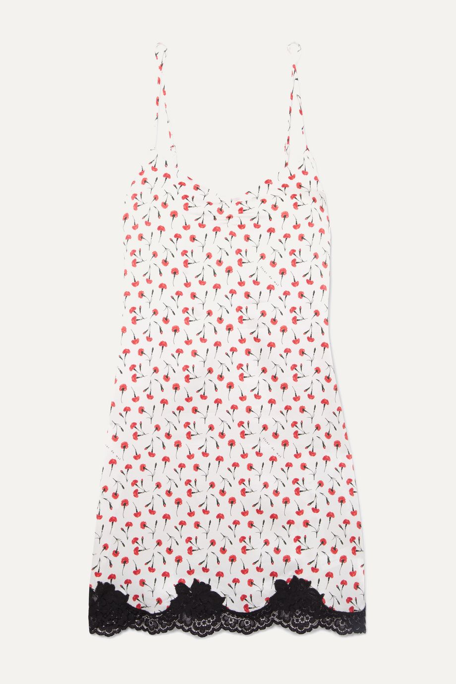 Fleur du Mal James lace-trimmed floral-print stretch-silk chemise