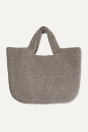 Oval cotton, alpaca and wool-blend tote
