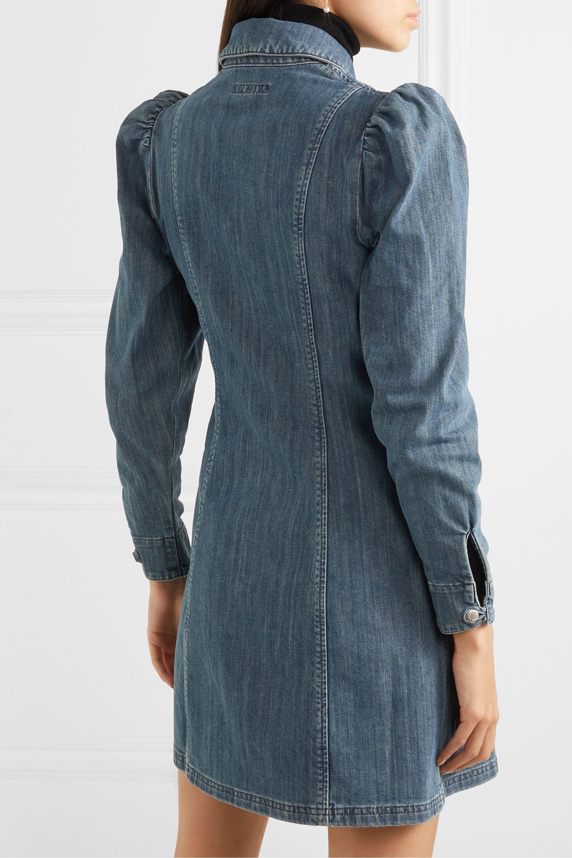 ALEXACHUNG Zip-detailed denim mini dress