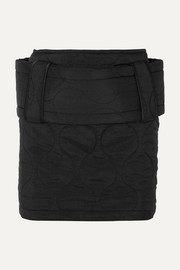 House of Holland Belted quilted ripstop mini skirt