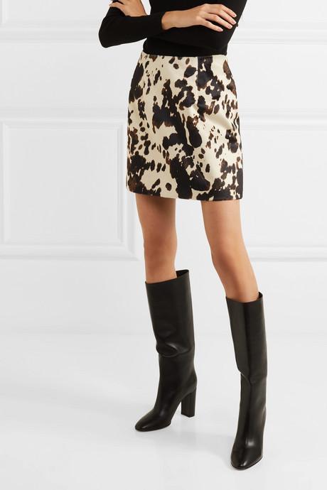Cow-print faux fur mini skirt