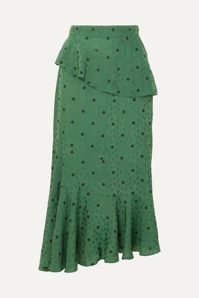 ossie-tiered-floral-jacquard-peplum-midi-skirt by alexachung
