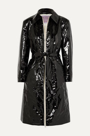 ALEXACHUNG Belted crinkled coated cotton-blend coat