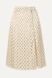 Pleated floral-print satin midi skirt