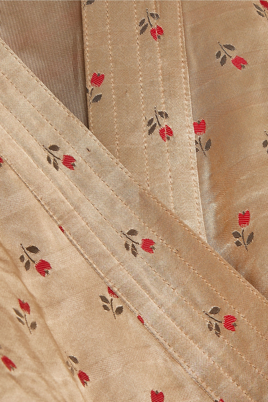 ALEXACHUNG Floral-jacquard wrap mini dress