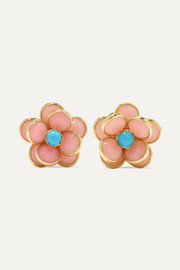 18-karat gold, opal and turquoise earrings