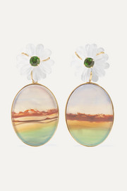 Guita M 18-karat gold agate, quartz and chrome diopside earrings