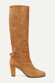 Rachel bow-embellished suede knee boots