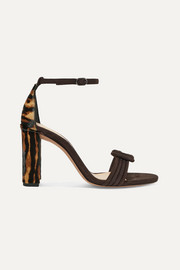 Alexandre Birman Vicky knotted leopard-print calf hair and suede sandals