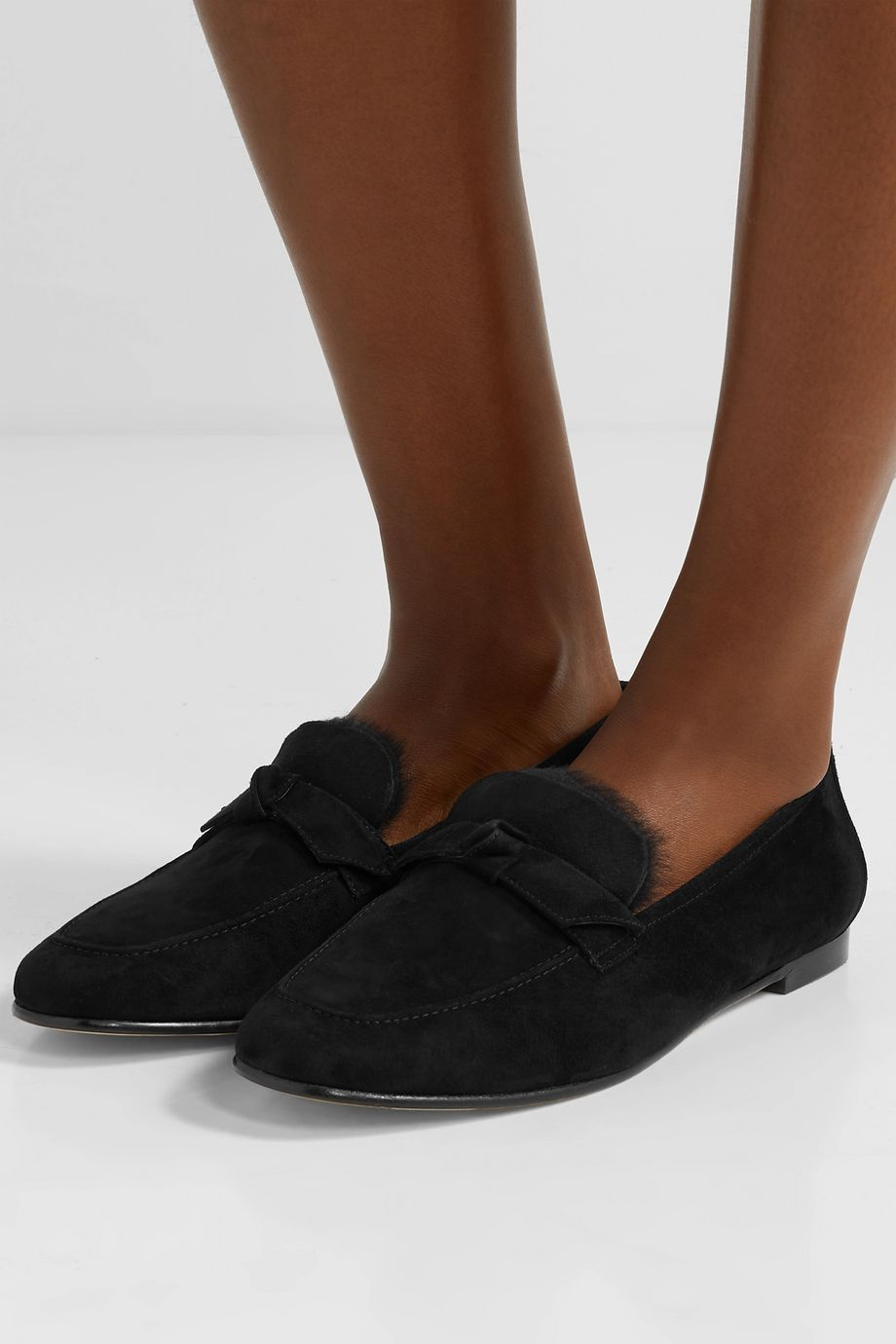 Alexandre Birman Becky bow-embellished shearling-lined suede loafers