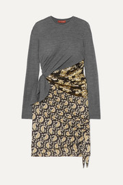 Belinda wool-jersey, brocade and paisley-print silk-blend crepe mini dress