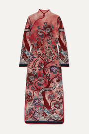 F.R.S For Restless Sleepers Satin-trimmed floral-print silk crepe de chine maxi dress