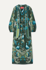 F.R.S For Restless Sleepers Satin-trimmed printed silk crepe de chine maxi dress