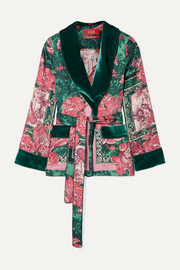 F.R.S For Restless Sleepers Armonia velvet-trimmed printed silk-twill jacket