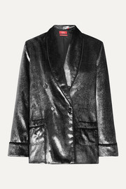 F.R.S For Restless Sleepers Ate double-breasted metallic velvet blazer