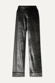 F.R.S For Restless Sleepers Etere metallic velvet straight-leg pants