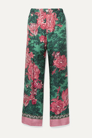F.R.S For Restless Sleepers Etere velvet-trimmed floral-print silk-twill straight-leg pants