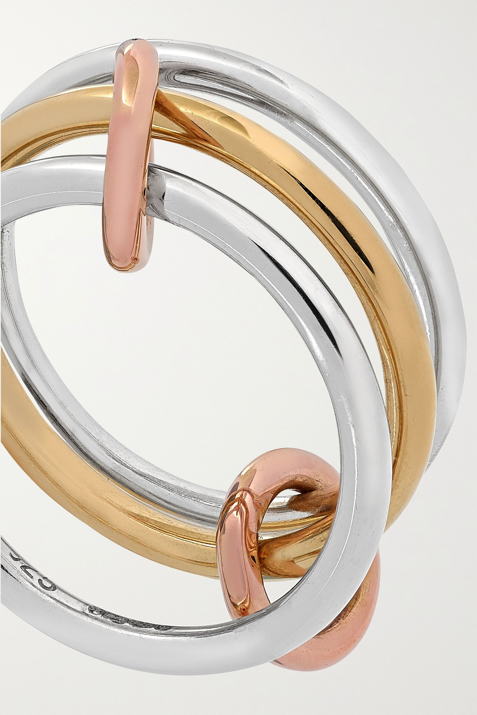 Spinelli Kilcollin Solarium set of three 18-karat yellow and rose gold and sterling silver rings