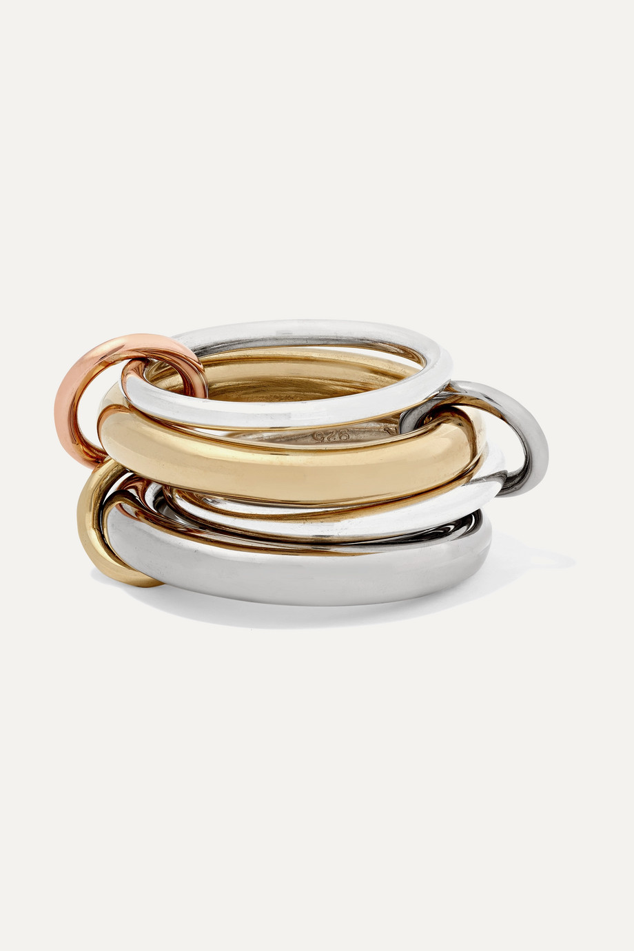Spinelli Kilcollin Cici Noir set of four 18-karat yellow, black and rose gold and sterling silver rings