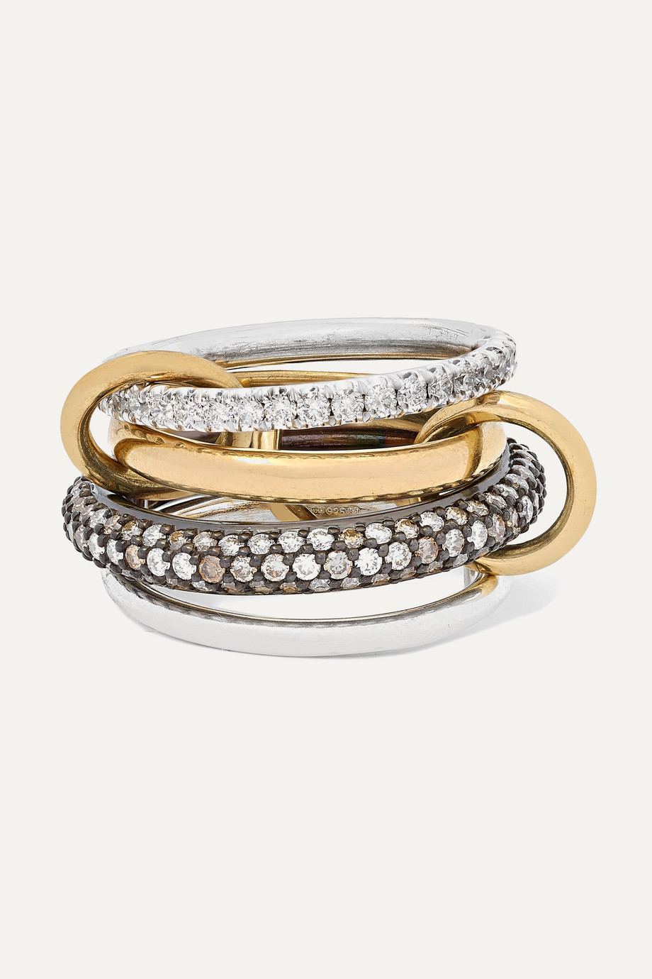 Spinelli Kilcollin Vega set of four 18-karat gold, sterling and rhodium-plated silver diamond rings