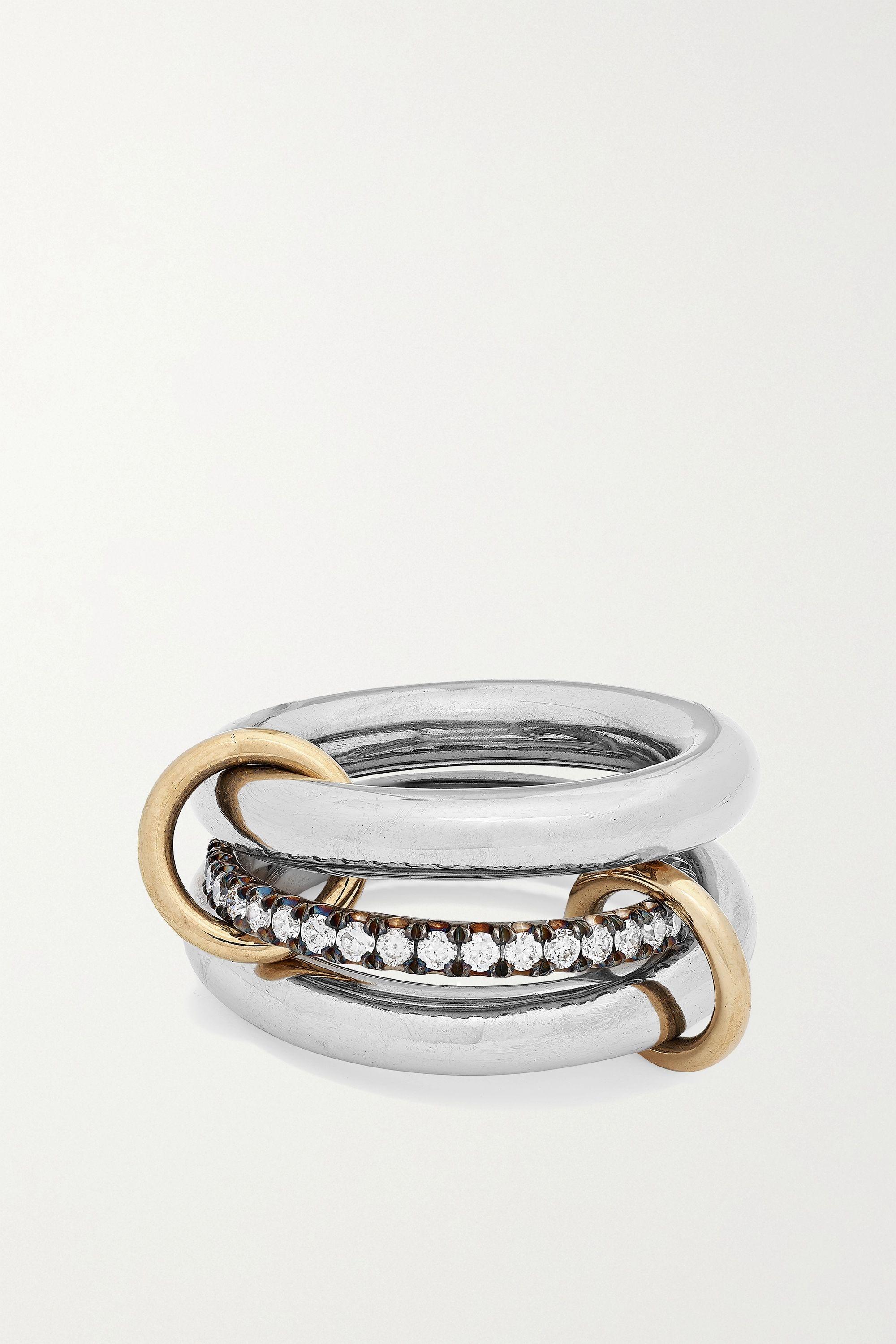 Spinelli Kilcollin Libra Set aus drei Ringen aus geschwärztem 18 Karat Gold und Gelbgold mit Diamanten