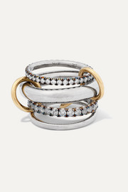 Spinelli Kilcollin Cassini set of four 18-karat blackened and yellow gold and sterling silver diamond rings