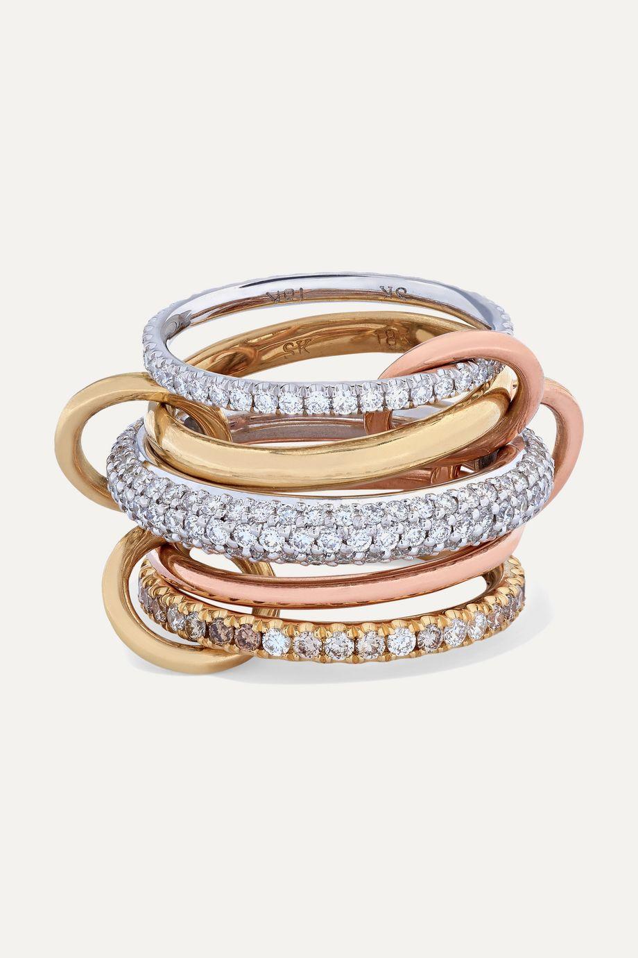 Spinelli Kilcollin Leo Set aus fünf Ringen aus 18 Karat Weiß-, Gelb- und Roségold mit Diamanten