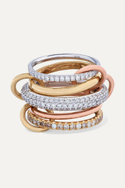 Spinelli Kilcollin Leo set of five 18-karat white, yellow and rose gold diamond rings