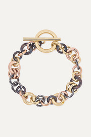Avalon 18-karat yellow and rose gold and rhodium-plated sterling silver diamond bracelet
