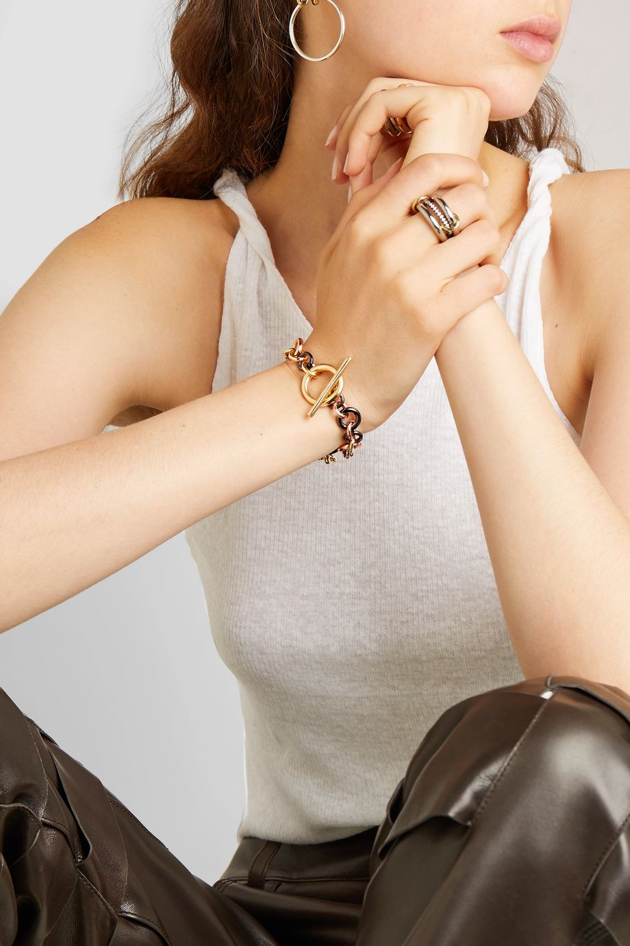 Spinelli Kilcollin Avalon 18-karat yellow and rose gold and rhodium-plated sterling silver diamond bracelet