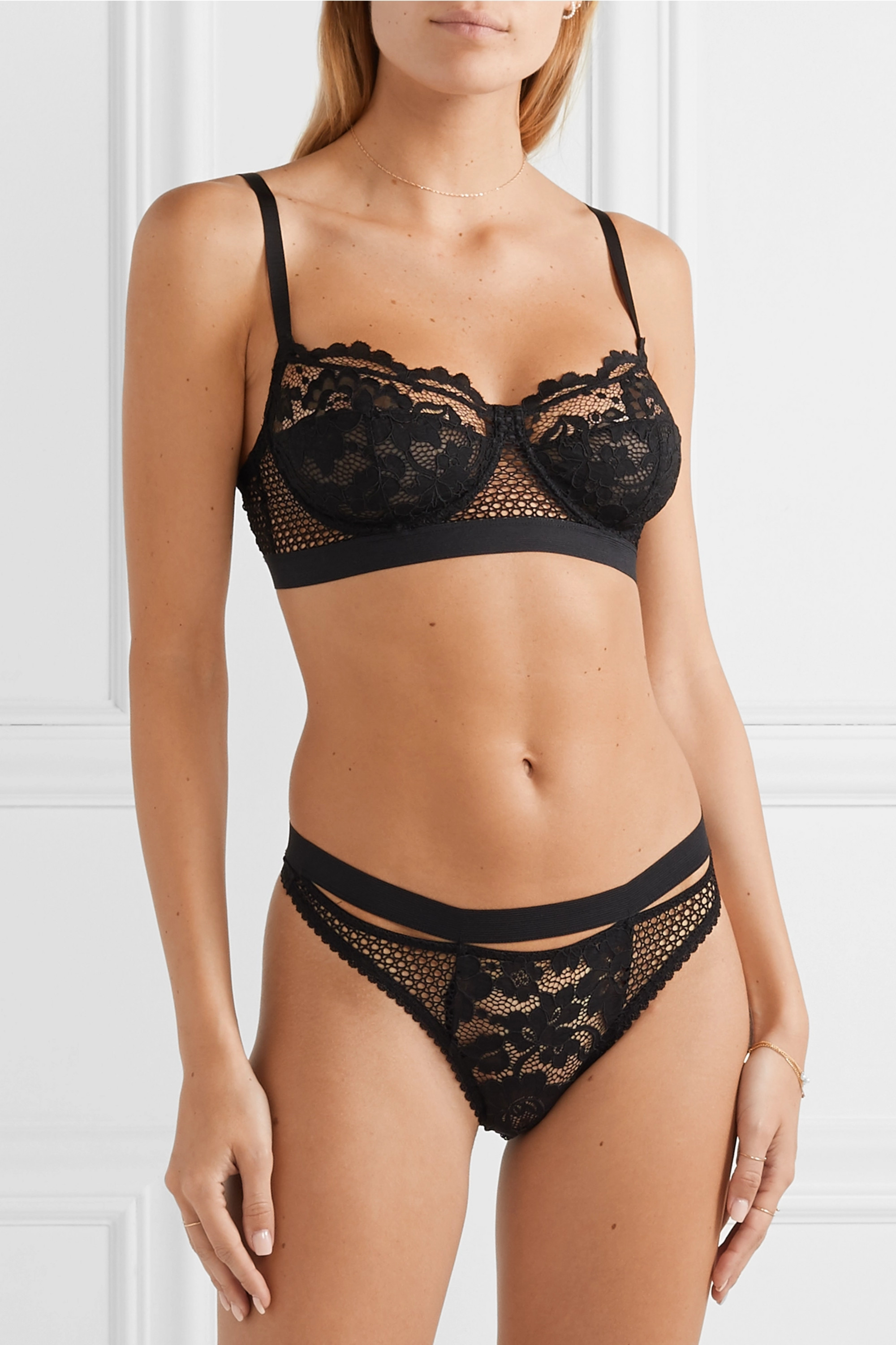 ELSE Petunia stretch-mesh and corded lace underwired bra