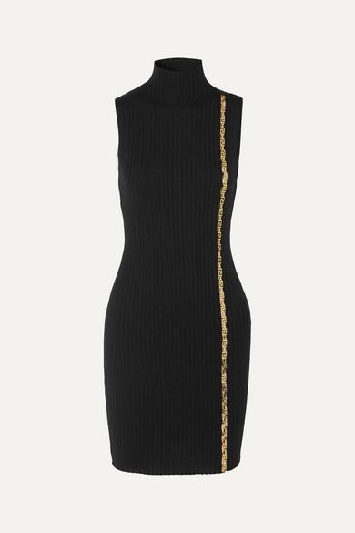 Versace Embellished Ribbed Wool-blend Turtleneck Mini Dress In Black