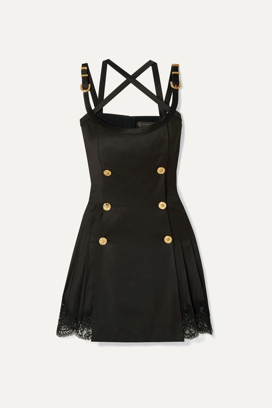 Versace Button-embellished satin and lace-trimmed wool-blend twill mini dress