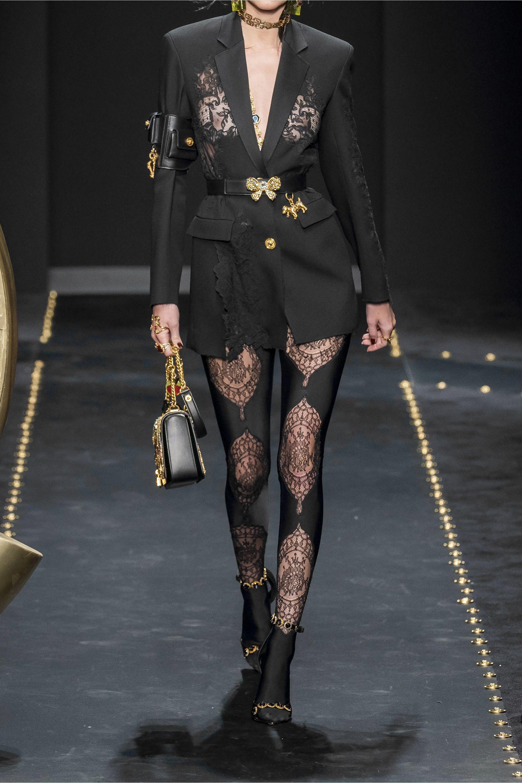 Versace Lace-paneled stretch-jersey leggings