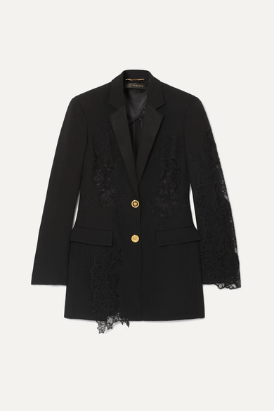 Lace Paneled Crepe Blazer by Versace