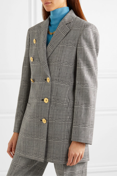 Button-embellished Prince of Wales checked wool blazer
