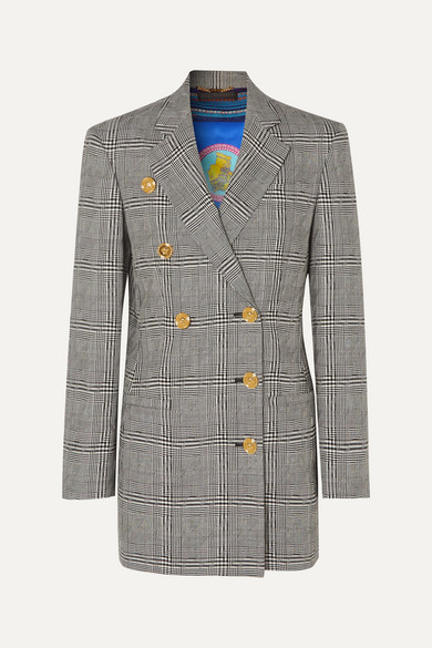 Button Embellished Prince Of Wales Checked Wool Blazer by Versace