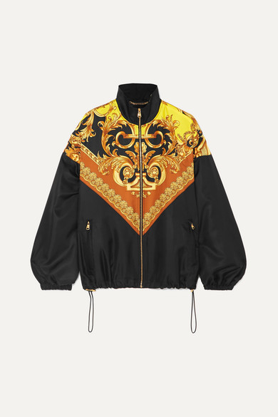 Printed Satin Twill Track Jacket by Versace