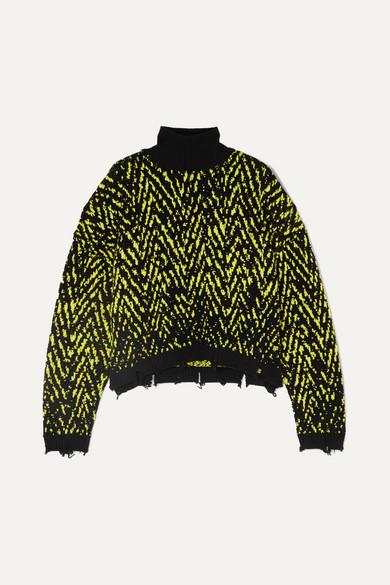 eeffa6bf3c Distressed intarsia wool-blend turtleneck sweater
