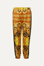 Printed silk-twill tapered track pants