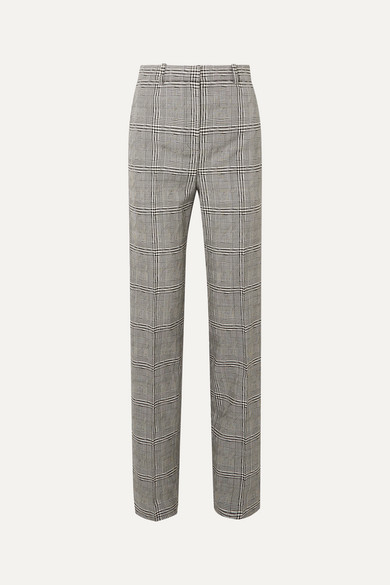Prince Of Wales Checked Wool Straight Leg Pants by Versace