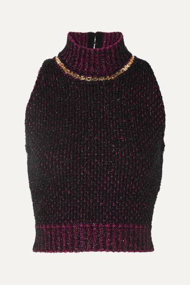 de80a1e449 Cropped embellished metallic bouclé sweater