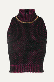 Versace Cropped embellished metallic bouclé sweater